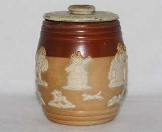 Royal Doulton Lambeth Early c1900 Stoneware Tobacco Jar with Hunting