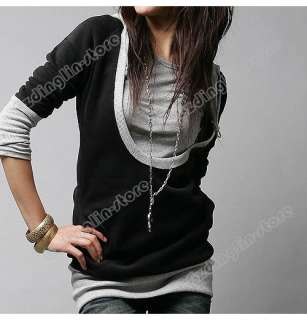 Womens Lady Long Sleeve Cotton Tops Dress Hoodie Coat Fashion