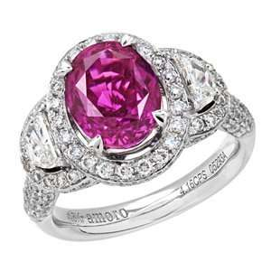 76 Carat 18kt White Gold Rare Pink Sapphire and Diamond Ring Jewelry