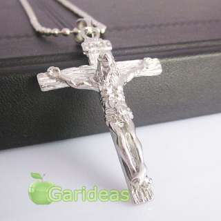 Silver Jesus Cross Chain Pendant Necklace Cool Item ID3588