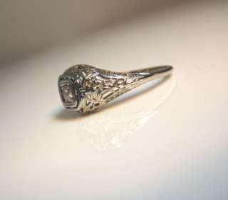 ANTIQUE ART DECO 1920S 18K WHITE GOLD FILIGREE & WHITE DIAMOND