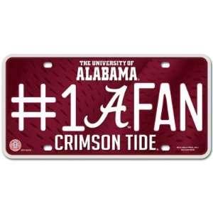 Alabama Crimson Tide UA NCAA License Plate #1 Fan Sports