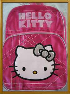 Sanrio HELLO KITTY   16 Pink/Silver Large Backpack/School Book Bag