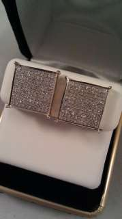 10K Yellow Gold Diamonds Micro Pave Earings Free S&H