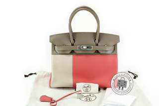HERMES CASAQUE BIRKIN GRIS + ROSE JAIPUR + ETOUPE LEATHER BAG MHW