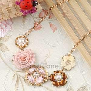 Charming Ladies Chic Elegant Faux Pearl Rhinestone Flower Pendant