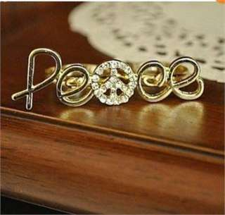 Fashion Double Two Fingers Golden color Crystals rhinestone Peace Sign