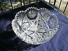 American Brilliant Period Cut Glass Fruit Bowl 8 Flash Star with Fans