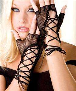 FISHNET LACE UP GLOVES GOTHIC PUNK VAMPIRE FAIRY PIXIE