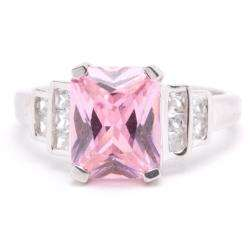 Silver Pink and Clear Cubic Zirconia Ring (Size 7)