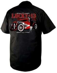 Lucky 13 Mens Adrian Black Work Shirt Rockabilly NEW