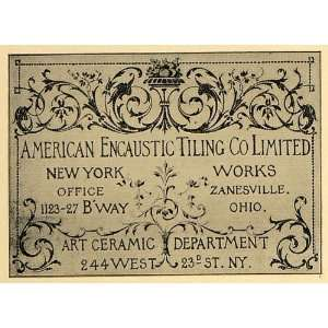 com 1902 Ad American Encaustic Tiling Company Art Ceramic   Original