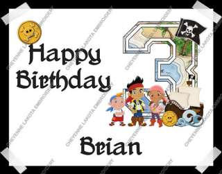 THE NEVERLAND PIRATES NUMBER PERSONALIZED EDIBLE BIRTHDAY CAKE TOPPER