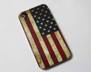 Retro Style America USA Flag Pattern Hard Rubber Case Cover For iPhone