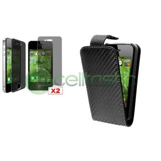 Black Leather Pouch Case Skin+2x Privacy LCD For iPhone 4 s 4s 4G 4th