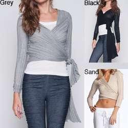 Elan Womens Pleated Convertible Wrap Sweater