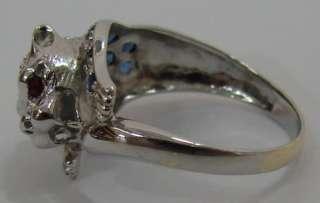 Nice PANTHER Sapphire & Diamond 14K White Gold Ring 3.5g / Size 7