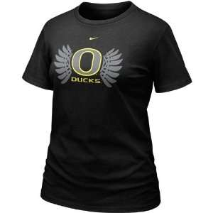 Nike Oregon Ducks Ladies Black Wings Crew T shirt: Sports & Outdoors
