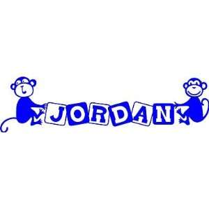 Name Monkeys Holding Baby Blocks Kids Room Decal/Sticker size 6 x 22