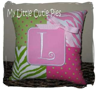 Custom Monogram Personalized Pink Lime Green Zebra Polka Dot Girls