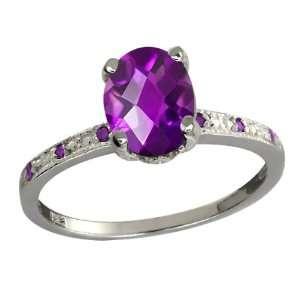 Ct Genuine Checkerboard Purple Amethyst Gemstone Argentium Silver Ring