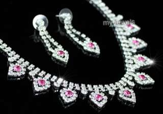 Wedding Bridal Pink Crystal Necklace Set S1152