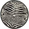 Alexa Zebra Animal Print Black/ White Rug (6 Round)