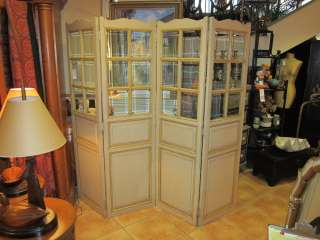 Unique Painted French Beveled Glass Screen, Room Divider, Solid Wood