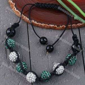 Woven Crystal Pave Disco Ball Bead Macrame Bracelet White Green