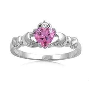 Sterling Silver Heart Ring with CZ Stone   Size 8 Jewelry