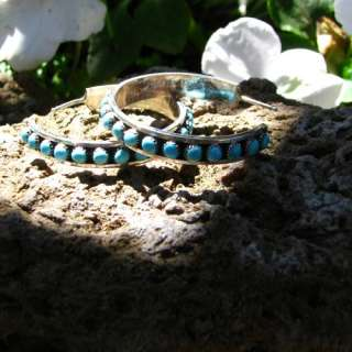 Zuni Lois Tzuni Sleeping Beauty Turquoise Hoop Earrings