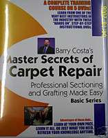 Carpet Cleaning Repair Barry Costa Master Series DVDs