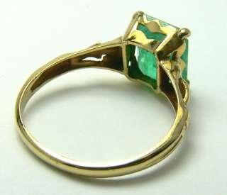 Simply Beautiful Emerald Cut Colombian Emerald & Gold Ring