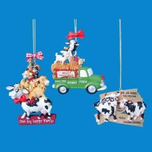 Club Pack of 12 Farm Barnyard Moo Cow and Truck Christmas