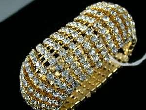 WIDE rhinestone FAB VINTAGE bangle bracelet EXPANSION