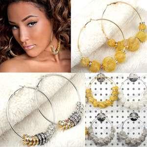 NEW Bling Hoops Rhinestone Basketball Wives Earrings+Gift Box 9style U