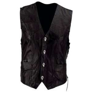 Plate Mens Black Buffalo Leather Motorcycle Vest with Skull Patch