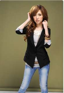 New Women 3/4 Sleeve One Button Lapel Casual Suits Blazer Jacket