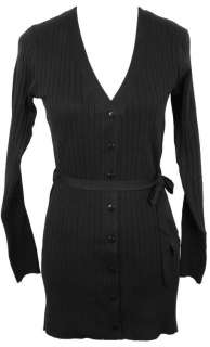 Neck Ribbed Cardigan Sweater, Button Front, Self Tie Sash BLACK