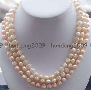 3row 9 10mm baroque pink Freshwater pearl necklace