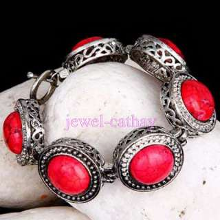 Red TURQUOISE Beads and Tibet Silver Inlaid Gemstone Cuff Bracelet