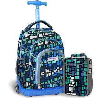Blue Squares 16 inch Kids Rolling Backpack with Lunch Bag