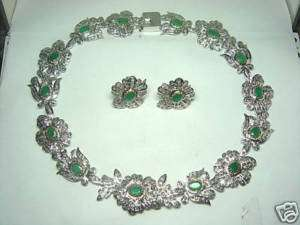 Estate 15.21ct RoseCut & Diamond & Emerald Necklace Set