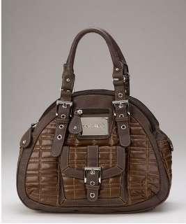 Womens Shoulder Tote 3 Compartment Handbag Purse 5845 Brown