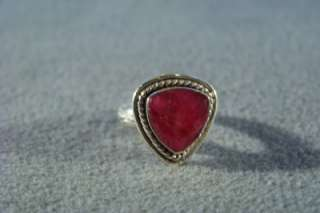 WOW ANTIQUE STERLING SILVER BIG FANCY TRILLION RUBY RING 7.5
