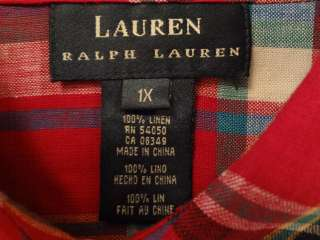 Womens Ralph Lauren Red White Blue Plaid Linen Long Sleeved Logo Shirt