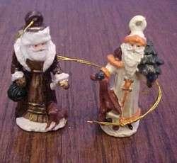 MINIATURE DIE CAST SANTA CLAUS CHRISTMAS ORNAMENTS