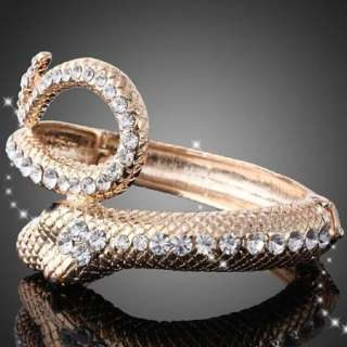 ARINNA Swarovski Crystal Gold GP hinged bangle Bracelet