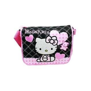 Hello Kitty Black Messenger Bag   Pink Hearts