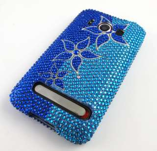 FLOWERS DIAMOND RHINESTONE HARD CASE COVER HTC EVO 4G PHONE ACCESSORY